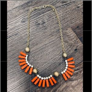 Cute Orange Jeweled & Gold Necklace